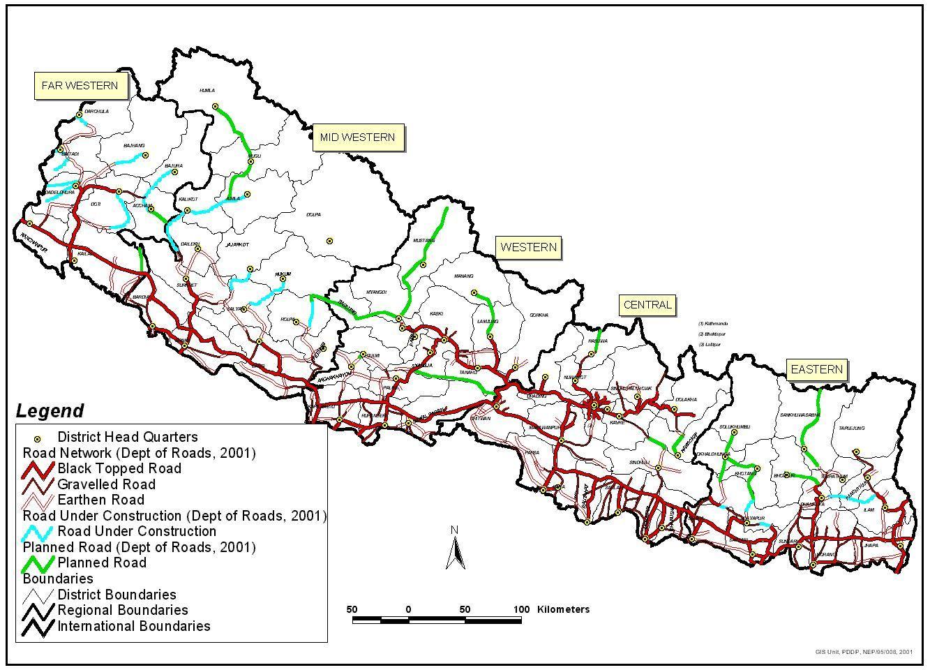 Nepal Autopalya Terkep Terkep Nepal Mutatja Autopalyak Del